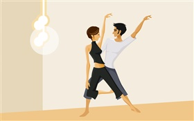 Girl and boy dancing, vector pictures HD wallpaper