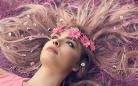 Girl lying ground, lips, wreath, flowers, long hair HD wallpaper