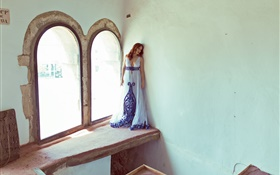 Girl stand at window side HD wallpaper