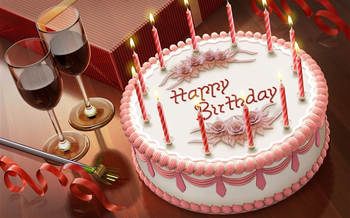 Happy Birthday, cake, candles, wine, gift Wallpapers Pictures Photos Images