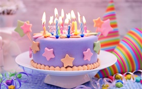 Happy Birthday, cake, decoration, sweet, candles HD wallpaper