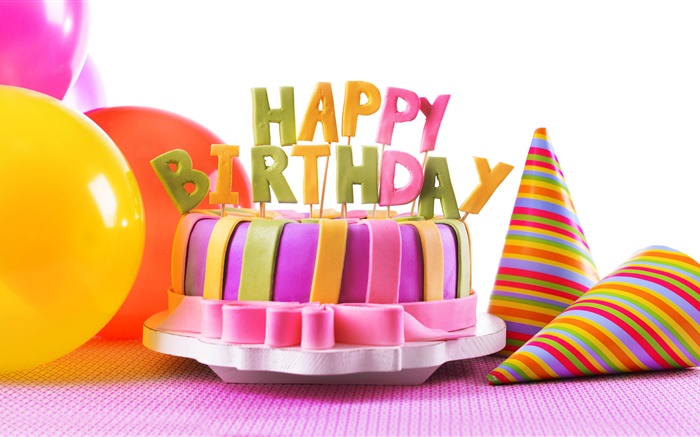 Happy Birthday cake, decoration, sweet food, balloons Wallpapers Pictures Photos Images
