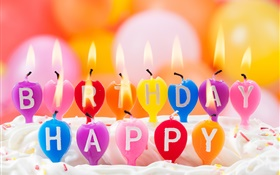 Happy Birthday, colorful candles, fire, cake HD wallpaper