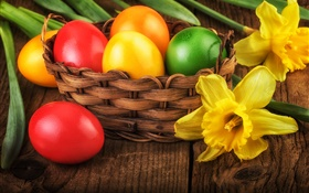 Happy Easter, colorful eggs, decoration, yellow daffodils HD wallpaper