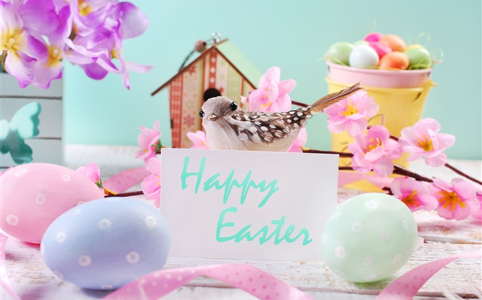 Happy Easter, flowers, eggs, decoration, spring Wallpapers Pictures Photos Images