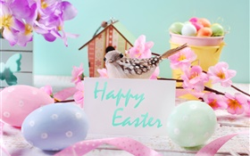 Happy Easter, flowers, eggs, decoration, spring HD wallpaper