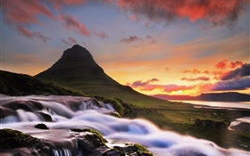 Iceland, Kirkjufell, mountain, waterfall, morning, sunrise HD wallpaper