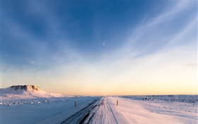 Iceland, winter, snow, road, morning, sky HD wallpaper