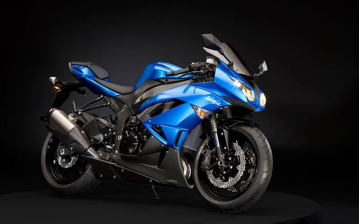 Kawasaki Ninja ZX-6R motorcycle, blue and black Wallpapers Pictures Photos Images
