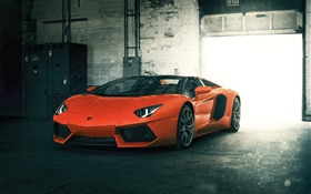 Lamborghini Aventador LP700-4 orange supercar HD wallpaper
