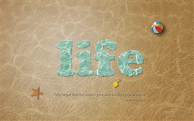 Life, beach, ball, creative pictures HD wallpaper