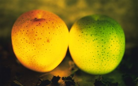 Light fruit, green and orange apples HD wallpaper