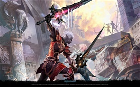 Lineage 2, warriors, sword HD wallpaper