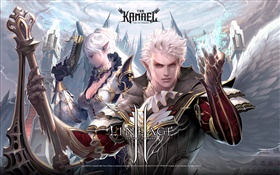 Lineage 2, white haired warriors HD wallpaper