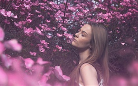 Long hair girl in the pink flowers world HD wallpaper