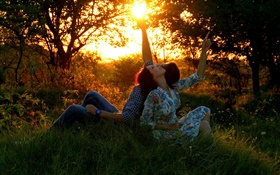 Man and woman, lovers, sun, meadow, forest HD wallpaper