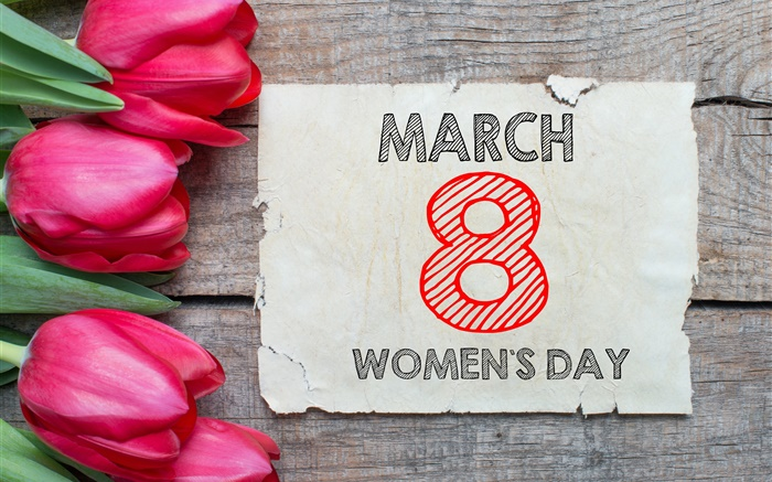 March 8, Women's Day, red tulips flowers Wallpapers Pictures Photos Images