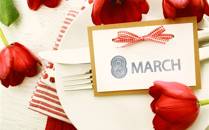 March 8, Women's Day, red tulips Wallpapers Pictures Photos Images