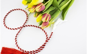 March 8, Women's Day, tulips, ribbon