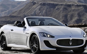 Maserati GranCabrio convertible white car HD wallpaper