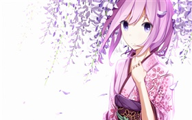 Megurine Luka, kimono girl, anime, flowers HD wallpaper