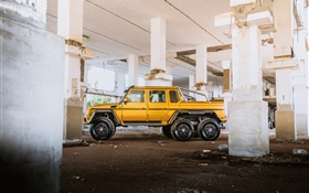 Mercedes-Benz MB G63 6x6 AMG yellow pickup HD wallpaper