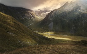 Mountains, valley, river, clouds, nature landscape HD wallpaper