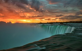 Niagara Falls at sunset, clouds, Canada HD wallpaper