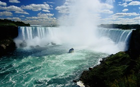 Niagara Falls, waterfalls, Canada, boat, clouds HD wallpaper