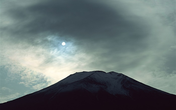 Night view Mount Fuji, moon, clouds, Japan Wallpapers Pictures Photos Images