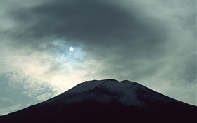 Night view Mount Fuji, moon, clouds, Japan HD wallpaper