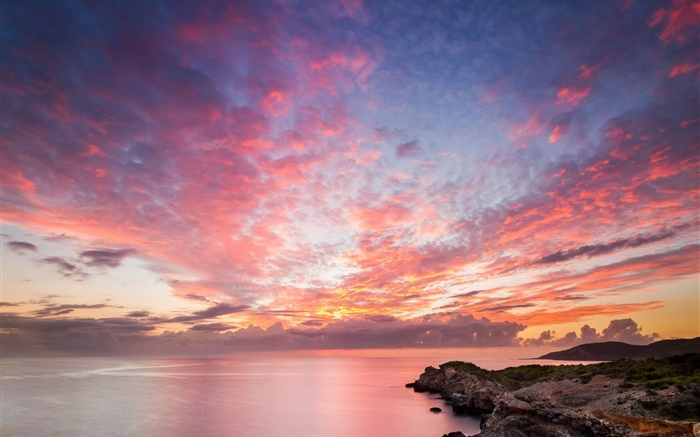 Ocean, coast, rocks, sunset, red sky, beautiful landscape Wallpapers Pictures Photos Images
