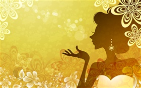 Orange style, vector girl, flowers, butterfly HD wallpaper