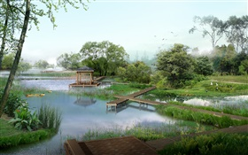 Park view, lake, ducks, trees, pavilion, grass, birds, 3D render pictures HD wallpaper