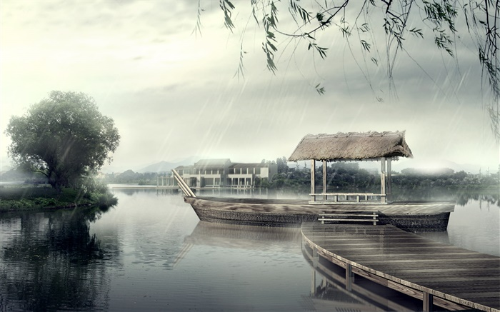 Pier, boat, river, trees, rainy day, 3D design Wallpapers Pictures Photos Images