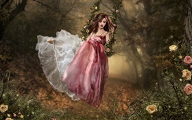 Pink dress fantasy girl sit on swing HD wallpaper