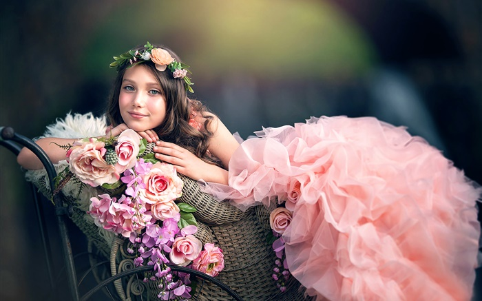 Pink dress girl, flowers, wreath Wallpapers Pictures Photos Images