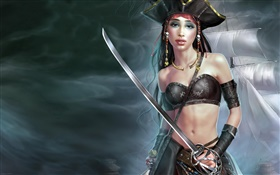 Pirate girl, ship, fantasy art HD wallpaper