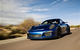 Porsche 911 GT3 blue supercar speed HD wallpaper