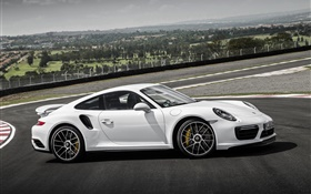 Porsche 911 Turbo S white coupe side view HD wallpaper