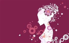 Purple background, vector girl, creative design HD wallpaper