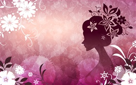 Purple background, vector girl, flowers, beautiful HD wallpaper