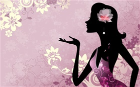 Purple background, vector girl, flowers HD wallpaper