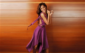 Purple dress girl smile, wood background HD wallpaper