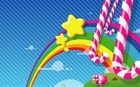 Rainbow, stars, candy, vector pictures HD wallpaper