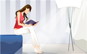 Red dress vector girl reading book HD wallpaper
