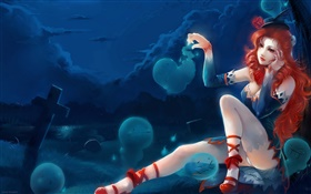 Red hair fantasy girl and soul HD wallpaper