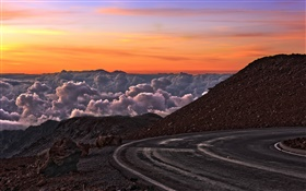 Road, mountains, red sky, clouds, sunset