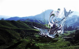 Robot monster, water splash, mountains, creative design pictures HD wallpaper