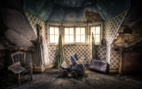 Room, window, stroller, old house HD wallpaper